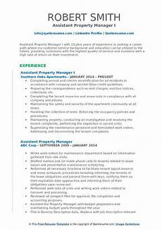 Assistant Property Manager Resumes Assistant Property Manager Resume Samples Qwikresume