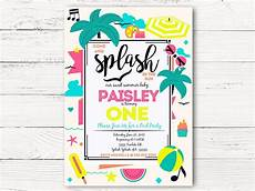 Summer Party Invite Digital Pool Party 1st Birthday Invitations Swanky Party Box