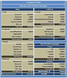 Net Worth Excel Download Business Net Worth Calculator Excel Template