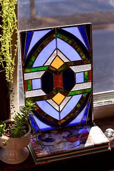 Art Deco Stained Glass Window Designs Large Art Deco Stained Glass Window Panel Blue Amber