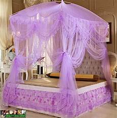 bed canopy set include both net curtain frame in purple