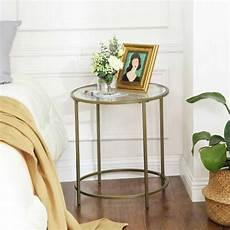 vasagle side table tempered glass end table with