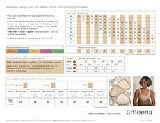 Different Breast Sizes Chart Amoena Breast Forms Size Chart Fitting Chart