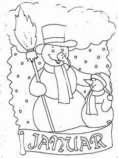 januar mit schneemann ausmalbild malvorlage monatsbilder