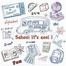 set of school drawings on chalkboard stock vector
