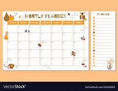 Cute Monthly Planners Cute Monthly Planner With Autumn Hand Drawn Vector Image