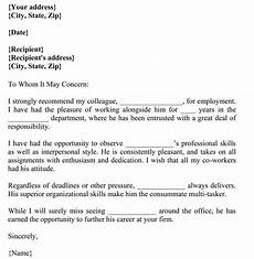 Co Worker Recommendation Letter Letter Of Recommendation For Co Worker 18 Sample Letters