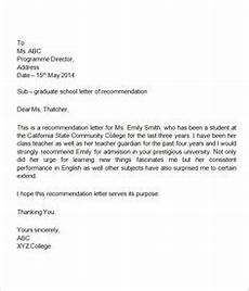 High School Letter Of Recommendation Template Letter Of Recommendation For Middle School Student