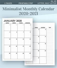 Two Month Calendar 2020 Printable Calendar Monthly 2020 2021 Month On Two Page Etsy