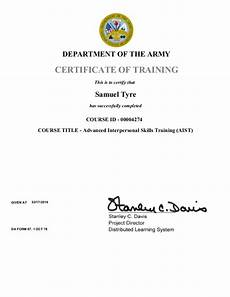 Army Certificates Of Training Advance Interpersonal Skills Training Certificate