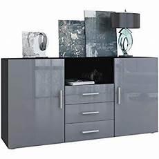 vladon sideboard cabinet city carcass in black matt front
