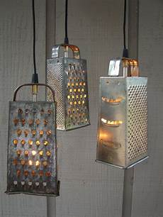 Cheese Grater Kitchen Lights Upcycled Vintage Colander And Grater Pendant Light