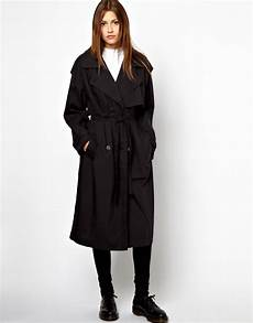 lyst cheap monday trench coat in black in black