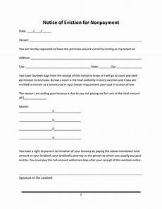 Notice Of Eviction For Nonpayment Of Rent 45 Eviction Notice Templates Amp Lease Termination Letters