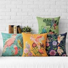 cushion cover parrot bird pillow firm flower sofa