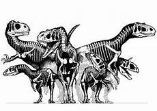 kleurplaat groep dinosaurussen skeletten gratis