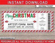 Concert Ticket Invitation Template Free Printable Christmas Gift Concert Ticket Template