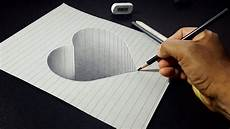 Drawing 3d How To Draw A 3d Hole Heart Shape Easy 3d Drawings For