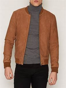 Light Brown Suede Jacket Mens Shnmark Suede Bomber Jacket Noos Selected Homme Light
