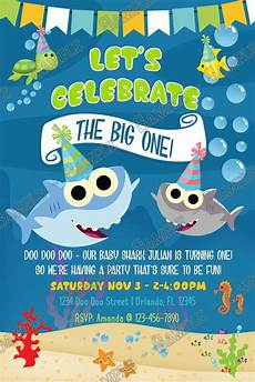 Baby Birthday Party Invitation Novel Concept Designs Baby Shark The Big One