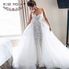 luxury strapless sweetheart chantilly lace mermaid wedding