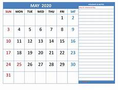 2020 Printable Monthly Calendar With Holidays Free Printable Monthly 2020 Calendar With Holidays May