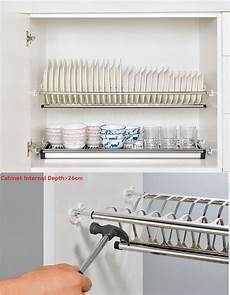 diy 2 tier stainless steel cabinet dish drying rack plate