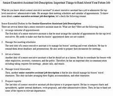 Senior Executive Assistant Job Description Senior Executive Assistant Job Description Important