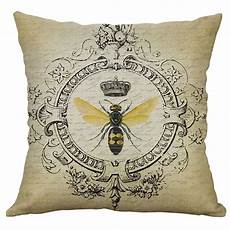 european style retro small bee linen pillow home car