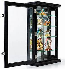 small wood curio cabinet locking tempered glass door