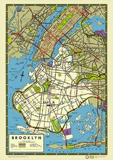 Malvorlagen New York Version New York 1949 Map Poster Vintage Prospect Park Ebbets