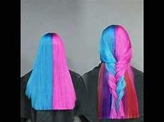 Half Pink Half Blue Half Pink Hair Half Blue Hair With Underlights Using