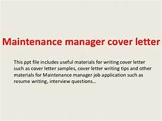 Cover Letter For Maintenance Manager Maintenance Manager Cover Letter