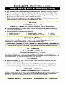 Intern Sample Resume Resume For Internship Monster Com