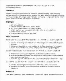 Perfect Receptionist Resume Professional Receptionist Templates To Showcase