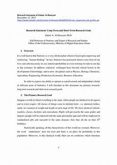 Long Term Professional Goals Pdf Research Statement Long Term And Short Term
