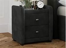 deacon velvet upholstered 2 drawer bedside chest grey go