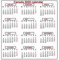 2020 Calendar Canada Canada Calendar 2020 Printable
