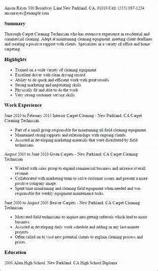 Cleaning Business Resume 1 Carpet Cleaning Technician Resume Templates Try Them