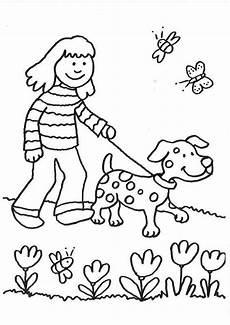 kostenlose malvorlage hunde spaziergang mit dem hund