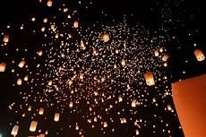 Lanterns And Lights At Chiang Mai Road The Yi Peng Lantern Festival In Chiang Mai Thailand
