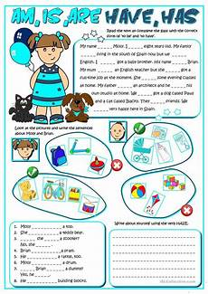 am is are have has worksheet free esl printable
