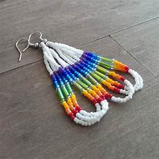 american beaded earrings rainbow earrings beadwork