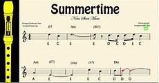 Recorder Notes Summertime Easy Sheet Music Notes For Recorder Youtube