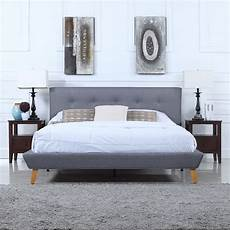 mid century grey linen low profile platform bed frame with