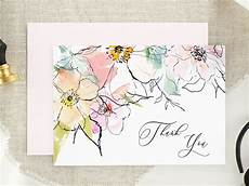 Watercolor Wedding Cards Watercolor Floral Wedding Thank You Card Watercolor