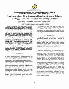Reserach Paper Pdf Awareness About Significance And Method Of Research