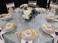 cornflower blue gold wedding tablescape d u s k
