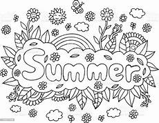 coloring page for adults with mandala and summer word