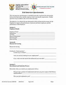 Employment Questionnaire Exit Interview Questionnaire Example